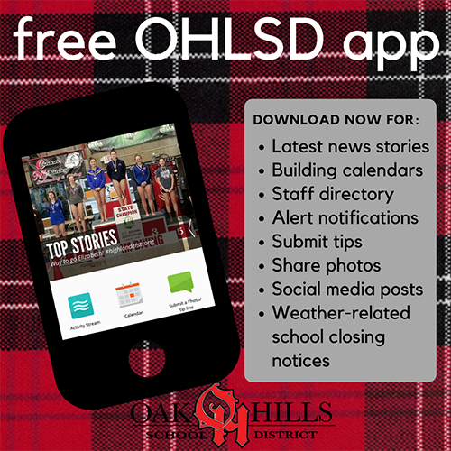 Image advertising the Oak Hills District App