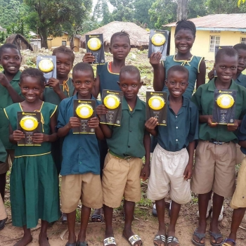 Sierra Leone students with lanterns