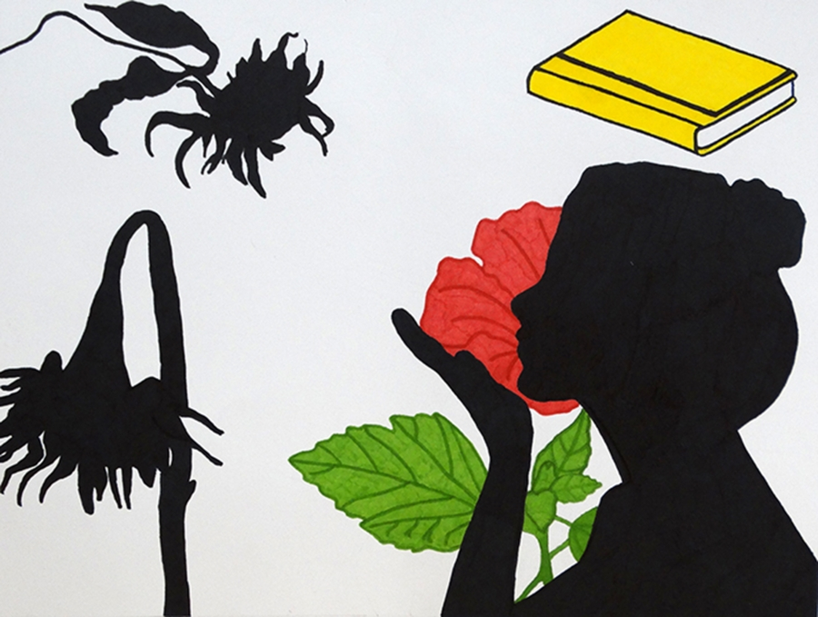 Student artwork silhouette of girl and flowers