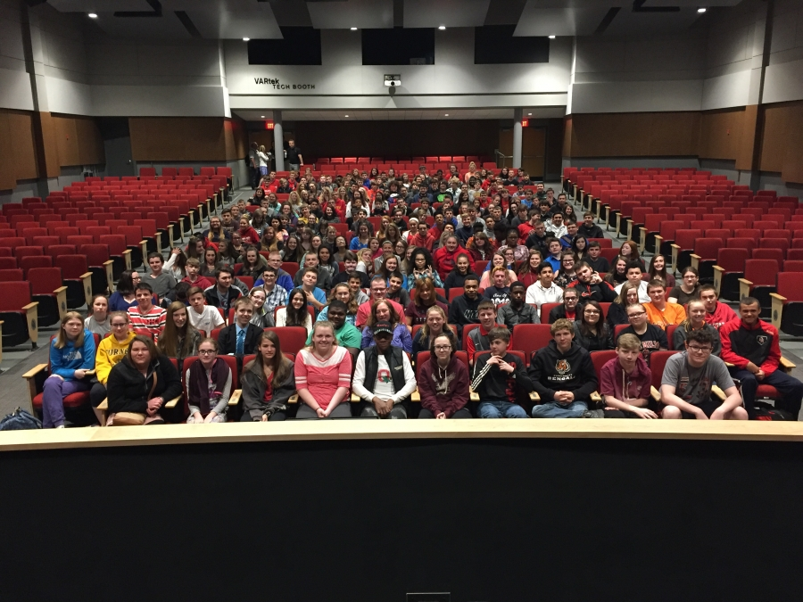 OHHS freshmen seated in the auditorium