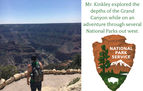 teacher facing the grand canyon and National Park Service Logo